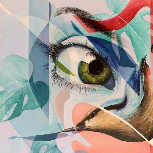Olieverf op canvas vogel oog