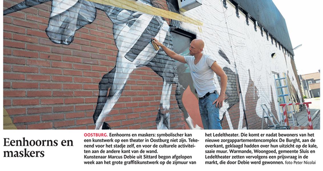 Graffitikunstwerk – Eenhoorns en maskers