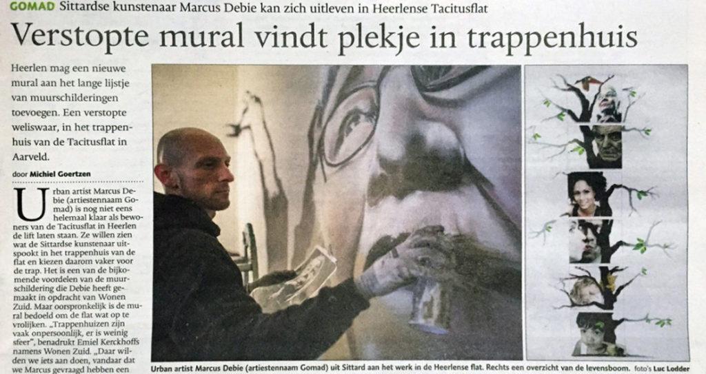 Verstopte muurschildering vindt plekje in trappenhuis
