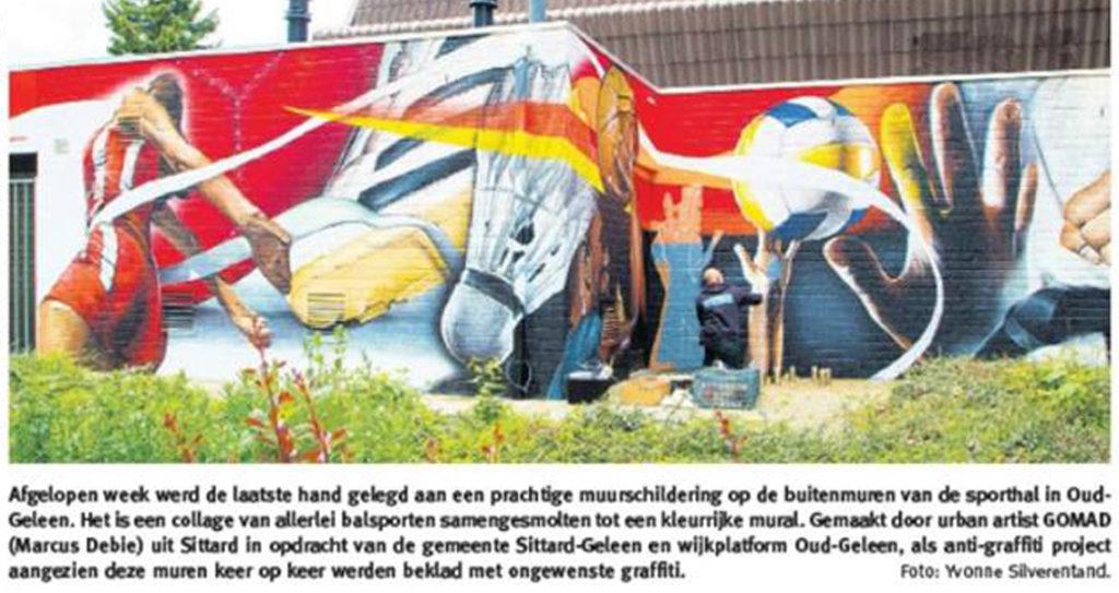 Muurschildering sporthal Oud Geleen