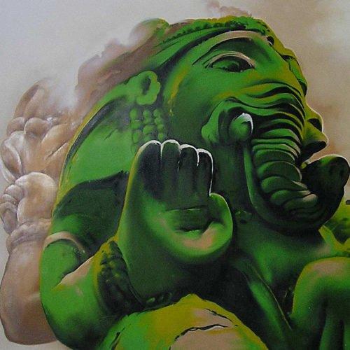 muurschildering restaurant buddha ganesha geleen