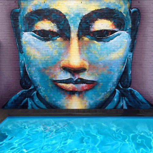 muurschildering buddha kerkrade