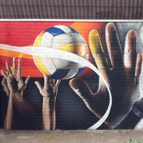 muurschilderingen gevel sporthal geleen