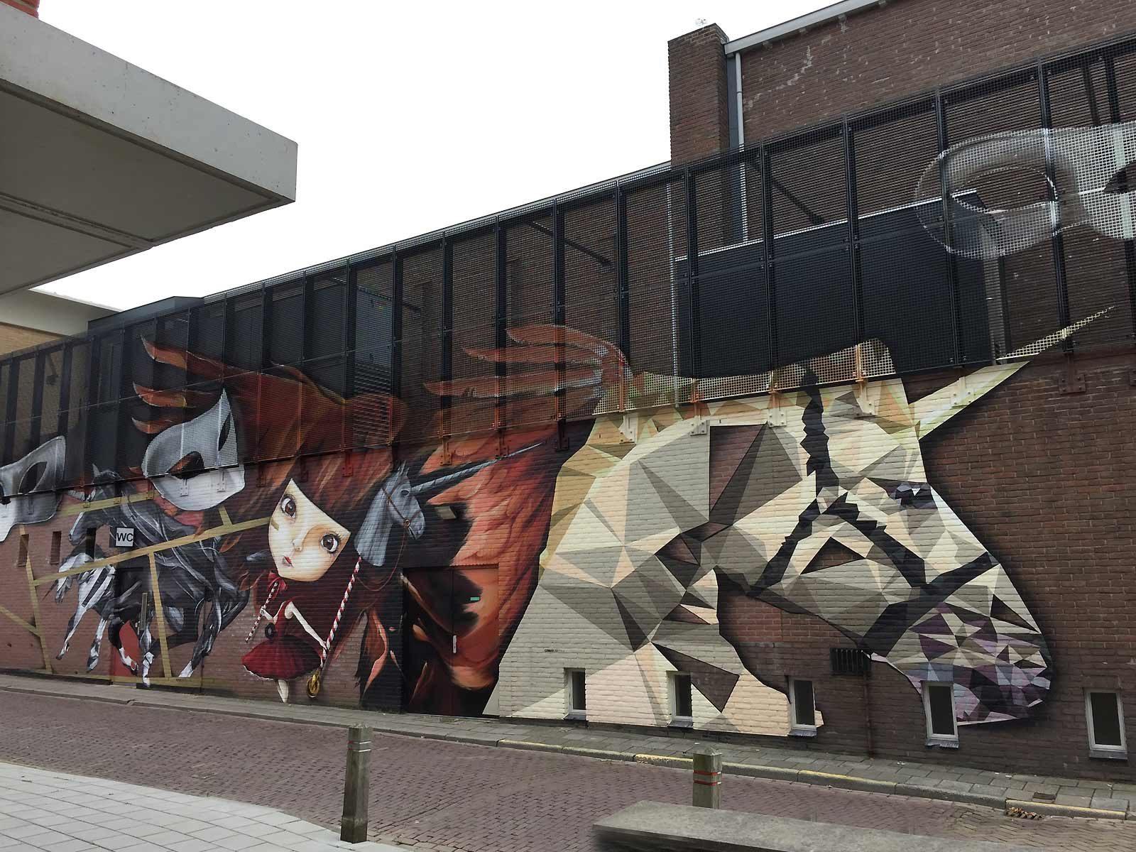 Muurschildering zijgevel ledeltheater oostburg gomad graffix - Ontwerp muurschildering ...