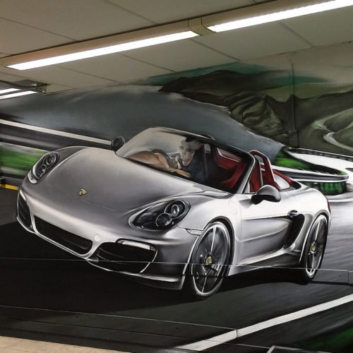 muurschildering Porsche garage Weesp