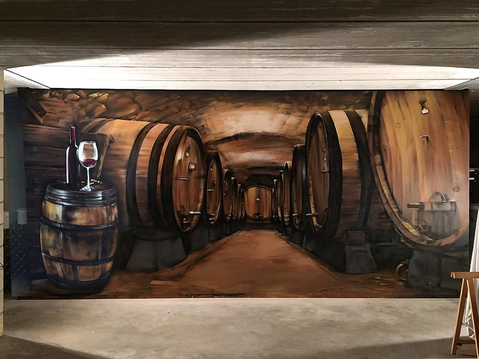 Muurschildering wijnkelder susteren gomad graffix graffiti art for Wijnkelder ontwerp