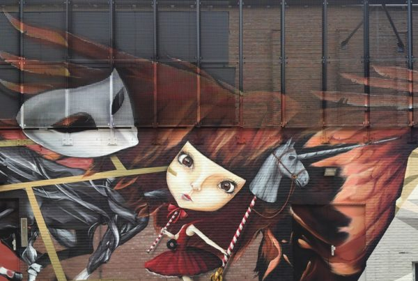 graffiti muurschildering zijgevel Ledeltheater Oostburg