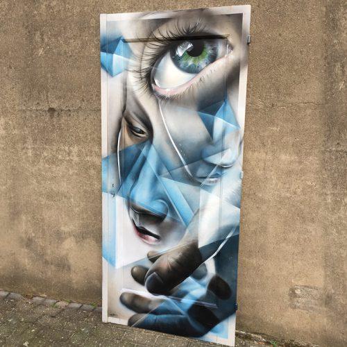 streetart op houten paneel graffiti Roermond on wood
