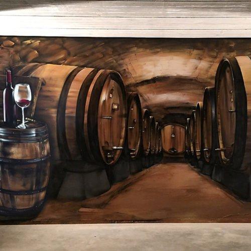 muurschildering wijnkelder susteren