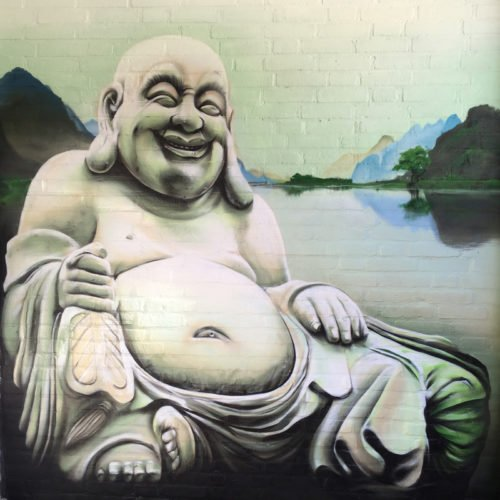 muurschildering buddha tuinmuur landgraaf