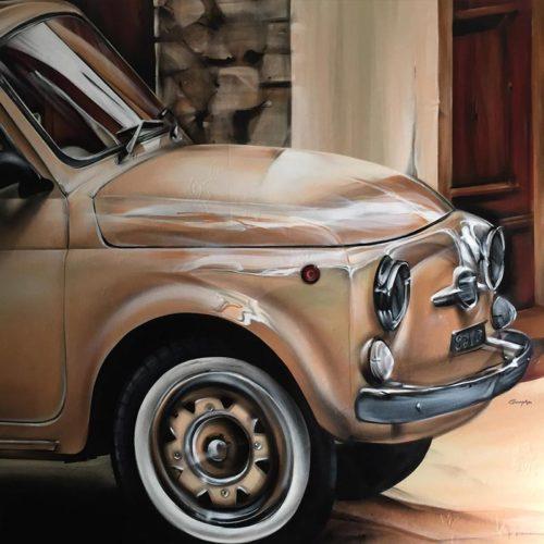 Muurschildering Fiat500 en Sophia Loren