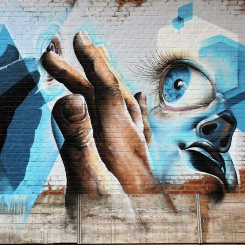 Streetart muurschildering Antwerpen Edegem Kaffee Allee