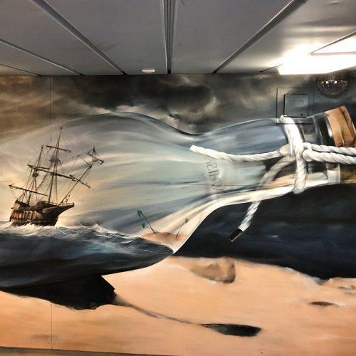 mural naval ship