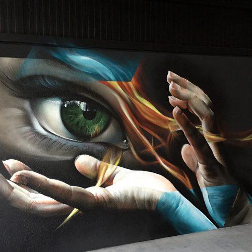 graffiti muurschildering Ecogy Tongeren Marcus GOMAD Debie