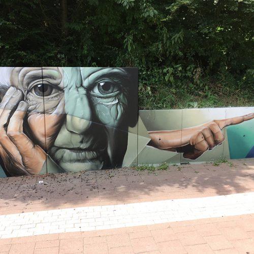 anti graffiti muurschildering fietstunnel meerssen