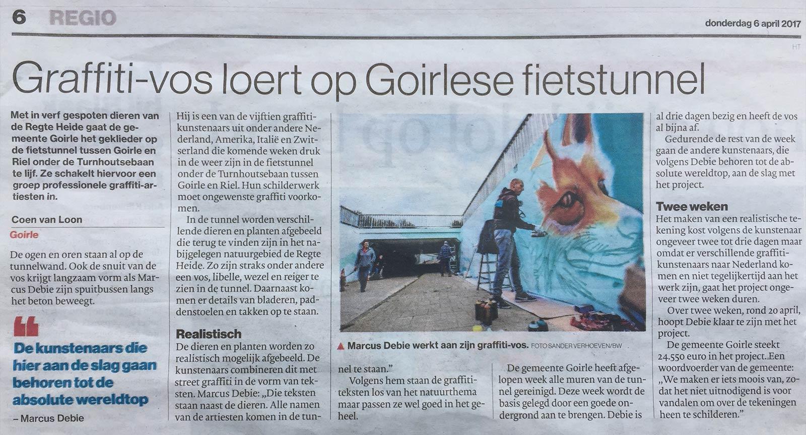 Graffiti-vos loert op Goirlese fietstunnel