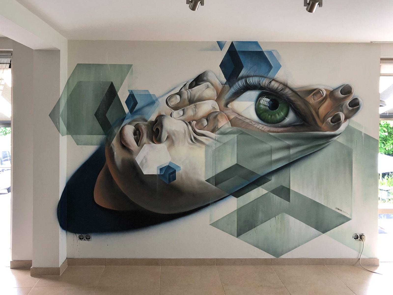 Muurschildering in woonkamer in Geleen > GOMAD Graffix urban wall art