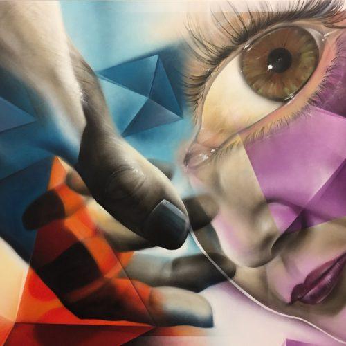 graffiti streetart op canvas met spuitbus