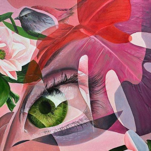 Olieverf op canvas vogel oog marcus gomad debie