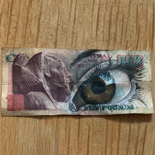 ölgemälde auf alte banknoten