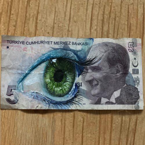 oilieverf op oud bankbillet