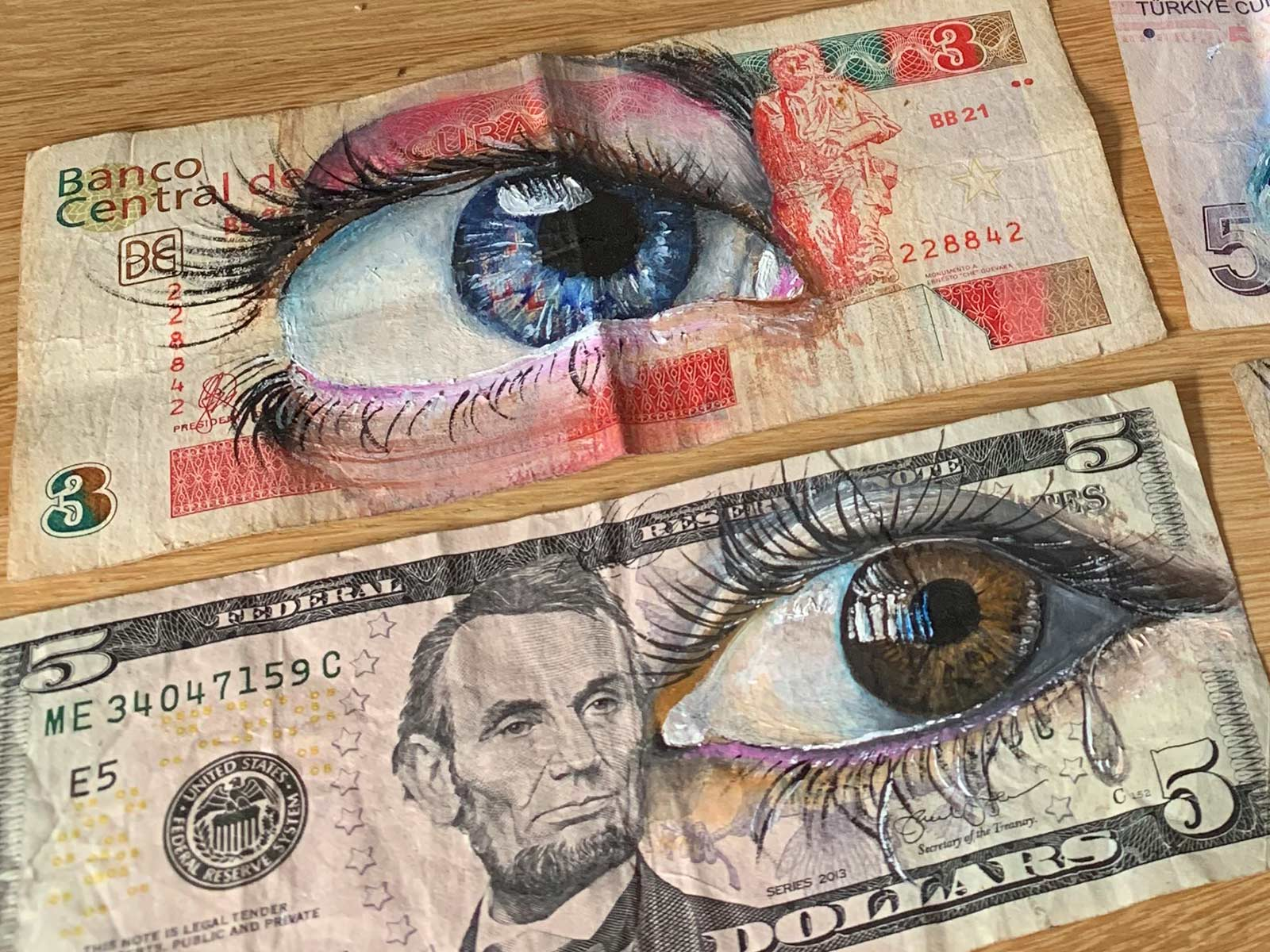 eye art banknote gomad streetart dollar cuban peso