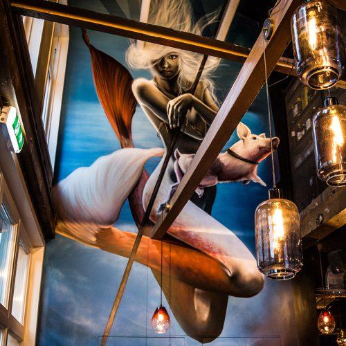 Hector Goes interieur restaurant muurschildering zeemeermin