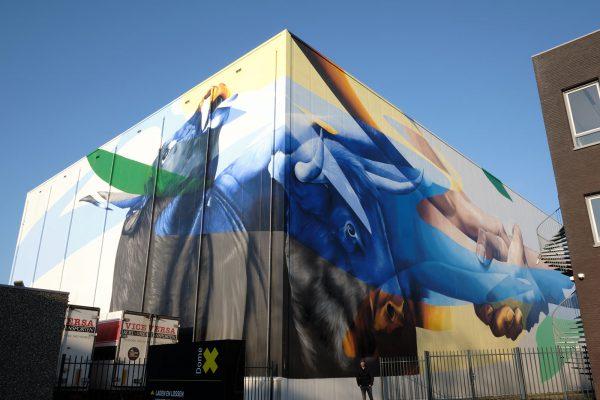 grootste streetart mural Nederland Marcus GOMAD Debie