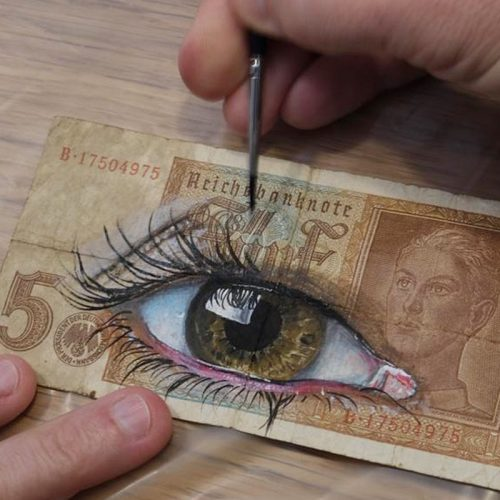 oilpaint eye banknote art gomad german mark
